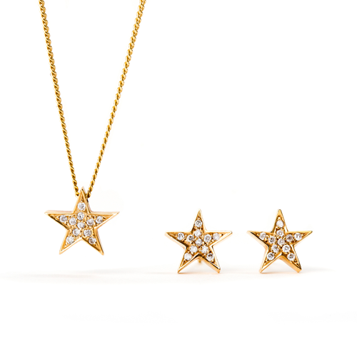 cc1e7ca6f683c 18ct Yellow Gold Star Earrings and Necklace